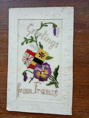 Ww1 Silk Embroidered Postcard Greetings From France • 3.99£