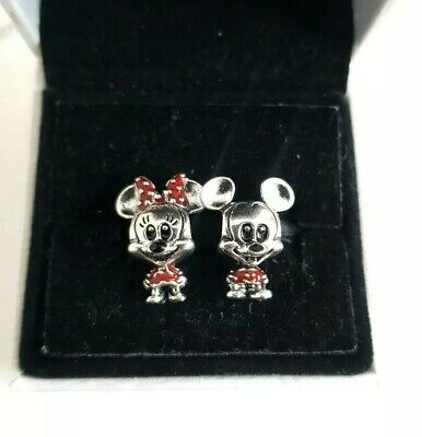2x Little Mickey And Minnie Mouse Kids Red Dress Silver S925 Charm Pandora Gift • 11£