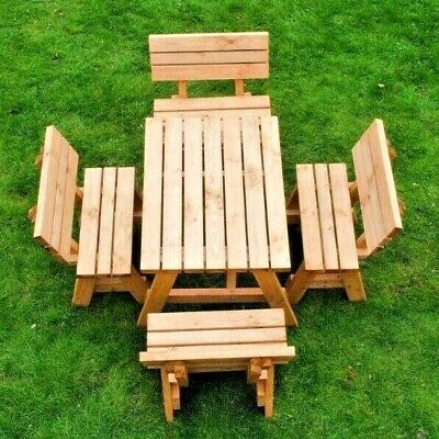 £290 • Buy Outdoor Wooden Picnic Table With Back Support-4/8 Seater-Pub Style Bench
