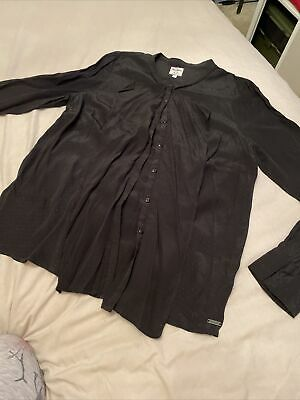 Pepe Jeans 100% Silk Black Button Up Frill Blouse Size XL • 6£
