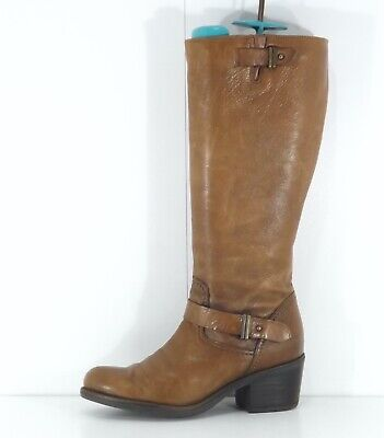 CLARKS Brown Tan REAL LEATHER Riding Style Ladies Knee Boots Size UK 5 EUR 38 • 13.50£