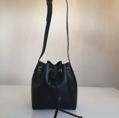 COCCINELLE Shoulder Crossbody Drawstring Bucket Small Leather Bag Black • 85£