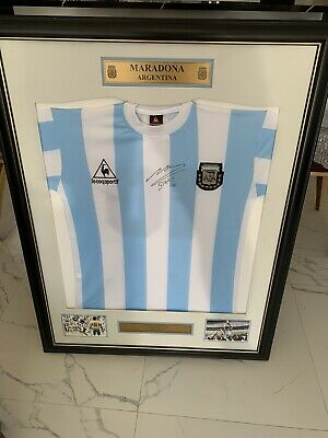 AU1200 • Buy DIEGO MARADONA PERSONALLY HAND SIGNED 1986 WORLD CUP Framed JERSEY