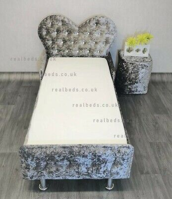 £229.99 • Buy Heart Toddler Bed In Crushed Velvet FREE Delivery - Kids Princess Fairy Luxury