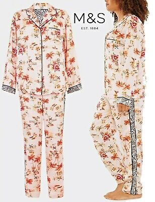 NEW M&S Ladies Tropical Print Pyjama PJ Set Nightie Loungewear Size 6-22 Palm  • 9.99£