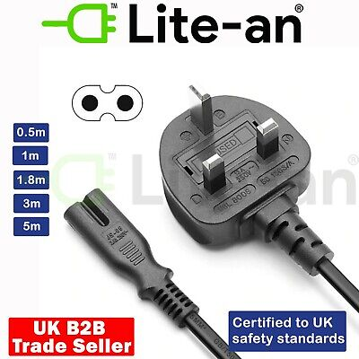 £2.50 • Buy Figure Of 8 Mains Cable / Power UK Lead Plug Cord C7 Fig 8 IEC C7 Power Cord