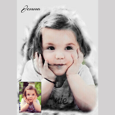 £39.99 • Buy Personalised Charcoal  Wall Art Picture From Your Any Photo-Digital Drawing