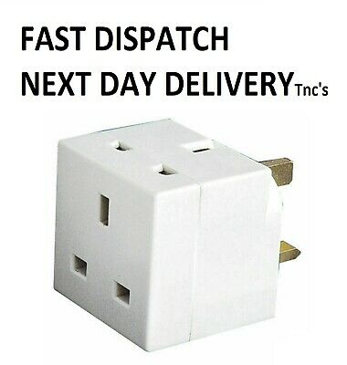 2 Way Block Plug Mains Adaptor Double Plug 3 Pin 13A UK FREE DELIVERY • 2.65£