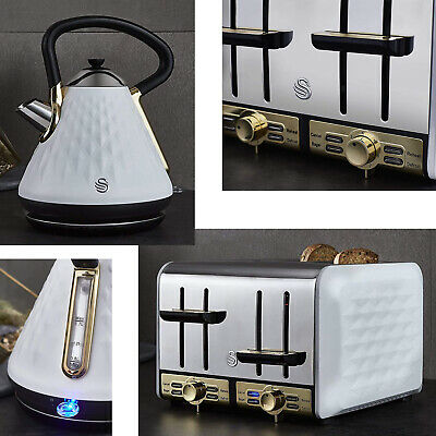 Swan Gatsby White/Gold Pyramid Kettle / 4 Slice Toaster - Buy Set Or Separately • 55.95£