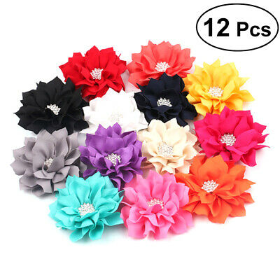 $ CDN13.49 • Buy 12pcs Lotus Flower Hair Clips Hair Bows With Rhinestone Center Headband Flowers