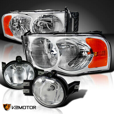 $101.42 • Buy 02-05 Dodge Ram Chrome Headlights Head Lamps+Clear Bumper Driving Fog Lights