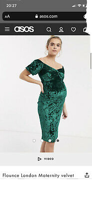 AU15 • Buy ASOS Maternity Green Velvet Dress Size 8 - NEW Without Tags