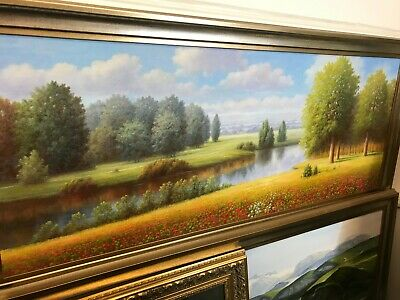 £625 • Buy Panoramic Framed Oil Painting Of Fantastic River Landscape (Exceptional )