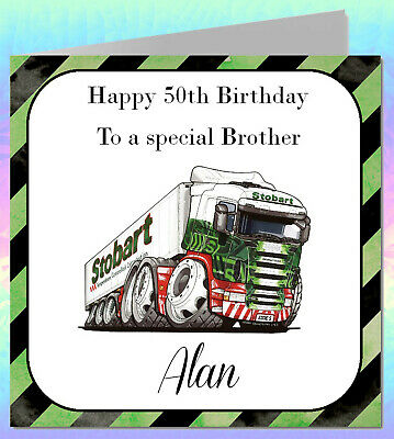 Personalised Male Boys Birthday Card Son Dad Granson UncleTruck Lorry BB92 • 3.50£