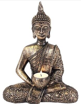 Large Sitting Thai Buddha Statue Ornament Tea Light Candle Holder Home Decor  • 19.99£