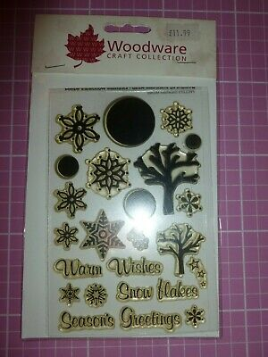 Woodware Clear Acrylic Stamp Set. Winter/Christmas 24 Stamps • 1.50£