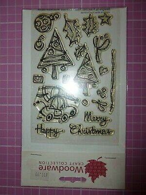 Woodware Clear Acrylic Stamp Set. Winter/Christmas 19 Stamps • 1.50£