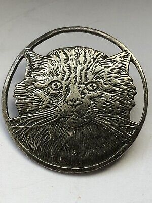 925 Sterling Silver Cut Out Cat Silver Brooch, 5.28g • 5.50£
