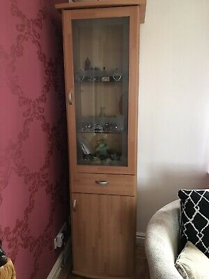 Tall Beech Display Unit With Glass Shelves, Plus Drawers • 20£