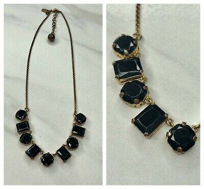 $ CDN62.17 • Buy Kate Spade Black & Gold Faceted Stone Necklace Baguette & Round Costume Jewelry