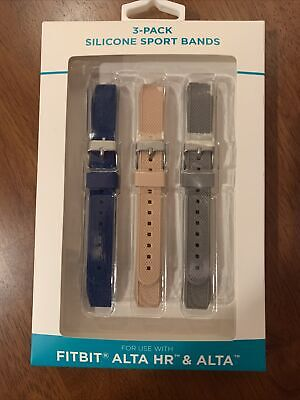 $ CDN6.38 • Buy 3 Pack Fitbit Alta HR & Alta Silicone Sports Band Blue Pink & Gray Brand NEW NIB