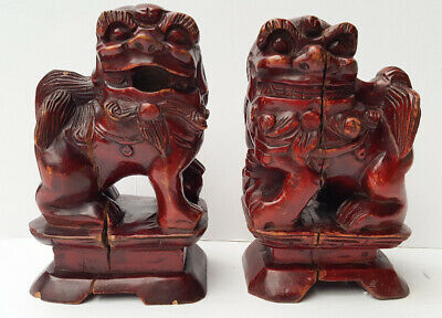 Chinese Antique Pair Of Wooden Foo Dogs • 19.99£