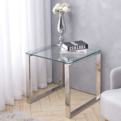 Modern Clear Glass Sofa Side Coffee Table Bedside Table Chrome Legs Lamp Stand • 75.95£