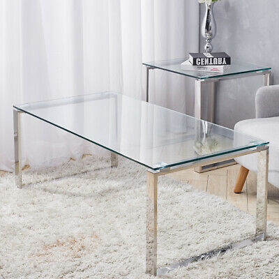 Clear Tempered Glass Coffee Table With Chrome Legs Modern Living Room Furniture • 95.95£