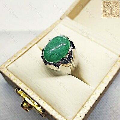 £69.57 • Buy 7 Ct Natural Green Jade Handmade Solid 925 Sterling Silver Mens Ring All Sizes