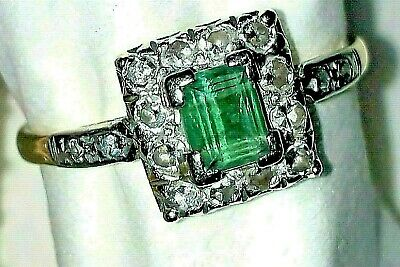 Art Deco 18ct Yellow Gold & Platinum, Emerald And Diamond Ring. • 533£