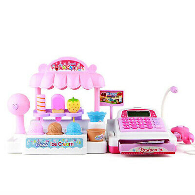 Kids Pretend Toy Cash Register Play Set With Food, Scanner, Calculator, Ice • 20.99£