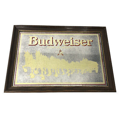$ CDN50.86 • Buy Vintage 80s Budweiser King Of Beers Gold Clydesdale Bar Mirror Vintage Framed A1