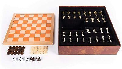 Chess Checkers & Backgammon Wood & Leather Travel Board Game - Deluxe Set NEW • 12.99£