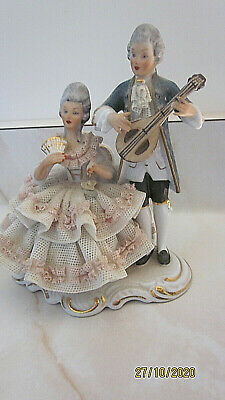 $ CDN69.60 • Buy Antique German Dresden Lace Lady Man Courting Couple In Love Porcelain Figurine