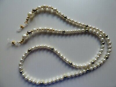 Beaded Spectacles/Sunglasses Chain - Faux Pearl & Gold Colour Beads. • 2.50£