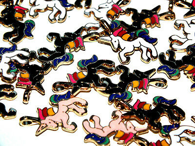 10 Pcs Mixed Alloy Enamel UNICORN Charms WITH LOOP Glue On Craft DIY KIT 2 CLEAR • 1.99£
