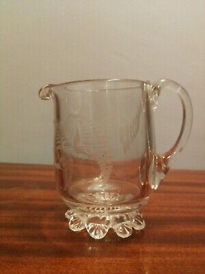 Victorian Etched Heavy Glass Jug, 9cm • 5.40£