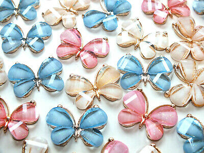 3 Pcs Cute Alloy Butterfly Butterflies Mix CHARMS Craft DIY KIT CLEARANCE SALE • 2.99£