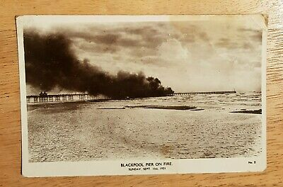 Blackpool. Lancashire. Pier On Fire. Black And White Postcard. Posted 1921. • 0.99£