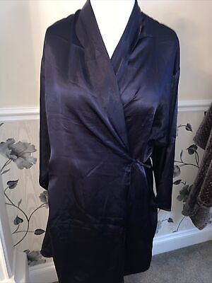 Ladies Navy Size 14/16 Silk Feel Shiny Night Wrap Gown  • 1.50£