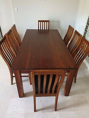 AU450 • Buy 9 Piece Dining Table Suite Soild Timber With Faux Brown Leather Chairs