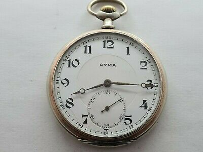 Antique 1907  Cyma 15J Solid Silver Cased Pocket Watch Working Rare • 165£