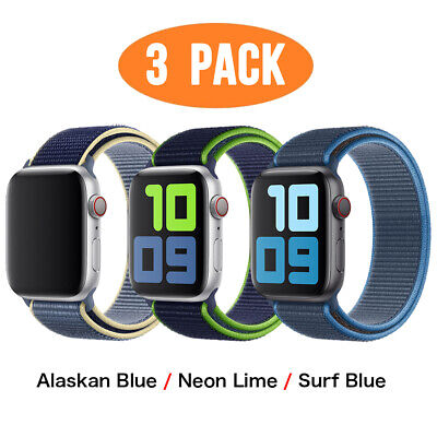 AU15.99 • Buy 3 PACK Nylon Sport Band Strap Fit Apple Watch Series 6 5 4 3 1 42 44mm IWatch SE