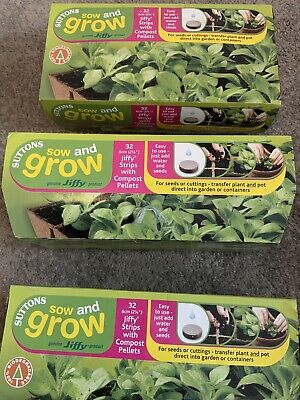 💝Suttons Grow And Sow, NEW, 32 Jiffy Strips With Compost Pellets💝 • 4.99£