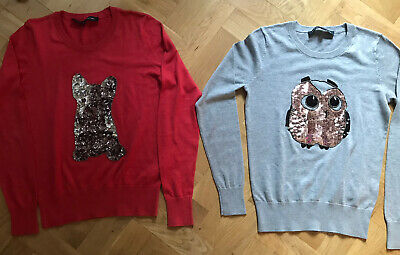 2x French Connection Glitter Jumper French Bulldog & Owl Grey Red • 19£