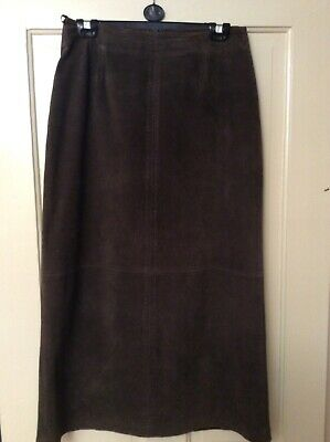 Alex & Co Vintage  lined Brown Suede Skirt Size 12 • 5£