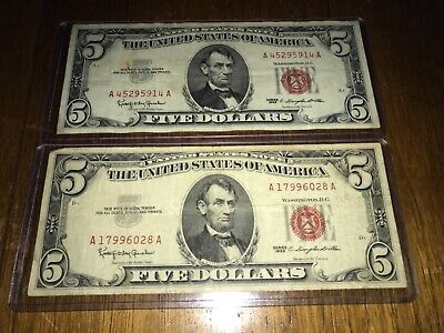 $ CDN12.75 • Buy Two 1963 $5 Dollar Red Seal Note..Circulated Old US Currency