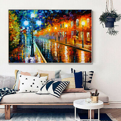Rainy Street Scenery Painting Canvas Wall Art Picture Print • 10.79£