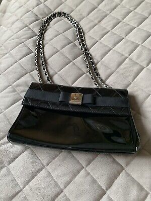 £45 • Buy Russell & Bromley Black Patent Leather Chain Shoulder Bag