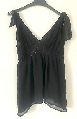 Pepe Jeans Top Black Sequin Detail Bow Straps Size S Used • 9£